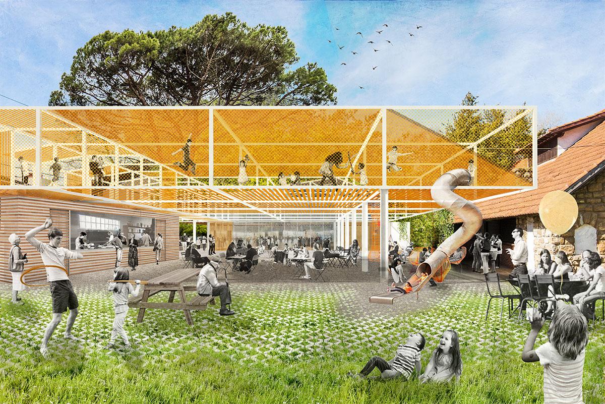Vista desde el jardín: estructura cubierta con multitud de posibilidades
